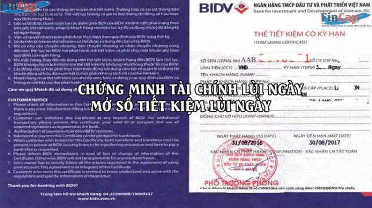 Chứng Minh Tài Chính lùi ngày, Mở sổ tiết kiệm lùi ngày 100% Đỗ Visa